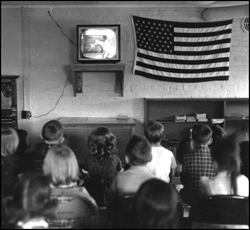 Warren students in the 1950s watching television in a classroom