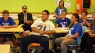 Dr. King & students listen to morning announcements