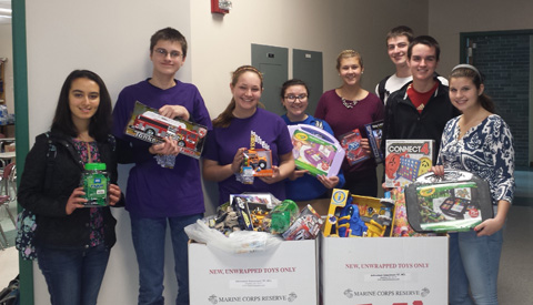 JHS student council officers with toys