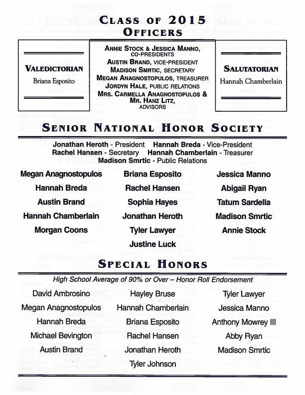 class officers, Honor Society, Special Honors