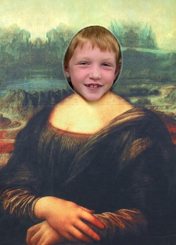 boys face imposed over Mona Lisa's