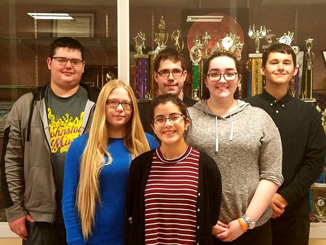 Boys left to right: Spencer Frenyea- Chorus, Mike Tuttle Band, Hunter Hill- Chorus. Girls left to right: Emily Barker- Chorus, Sarah Martelle- Chorus, Ashley Ackernecht- Band.
