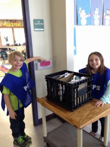 two students delivering mail