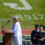 student speaker at podium