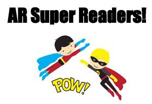 two cartoon superheros flying with word Pow! beneath and words AR Super Readers! above