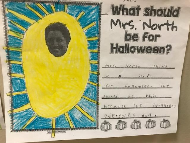sun drawn around Mrs. North; she should be a sun