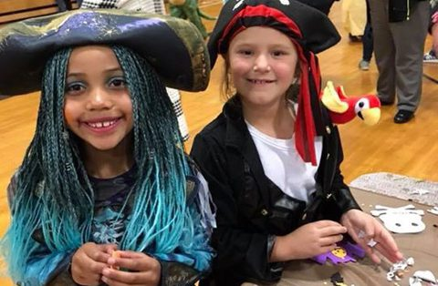 two students dressed up