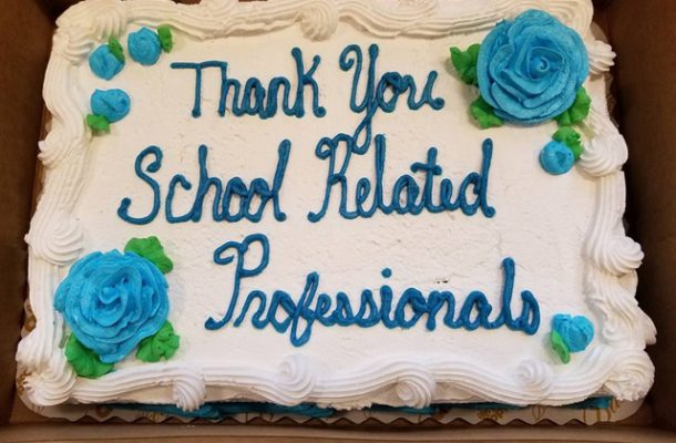"""Cake decorated with words """"Thank you School Related Professionals"""""""