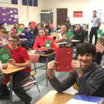 another group of students with cards in Mr. Satterlee's class