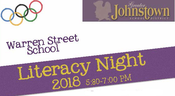 Banner with school district logo, Olympic rings, words Literacy Night 2018