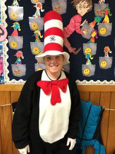 staff member in cat in the hat suit
