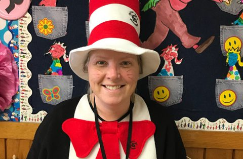 Principal Cotter dressed as Cat in the Hat