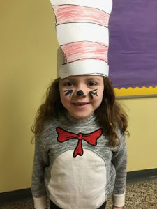 student dressed as cat in the hat