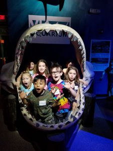 kids in a shark's mouth