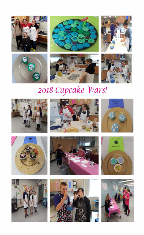 a conglomeration of photos of students baking, decorating and displaying cupcakes