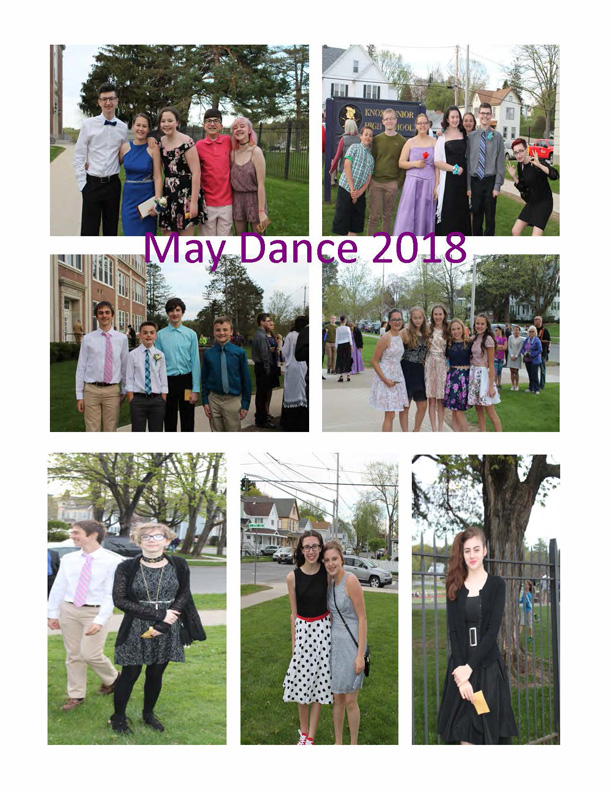 collage of photos of students at dance and entering school