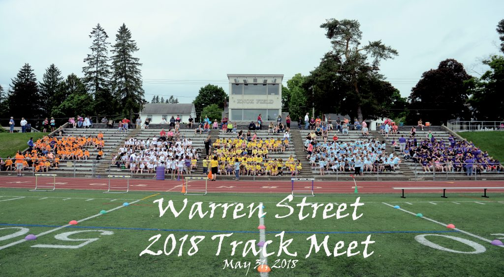wide angle shot of Warren fourth, fifth & sixth graders in the bleachers at Knox Field