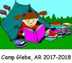 cartoon of girl in tent with books, words underneath say Camp Glebe AR 2017-18