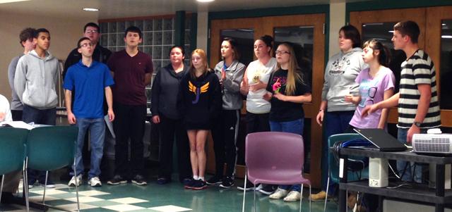 JHS Rock-apella Group peforming at Board meeting