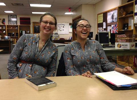 Ms. Buskirk & Ms. Chaulk ini matchnig blouses