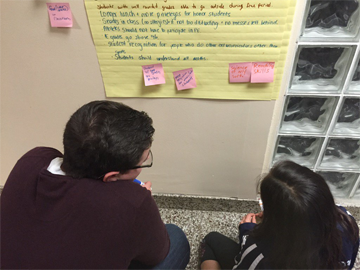 students contemplating poster