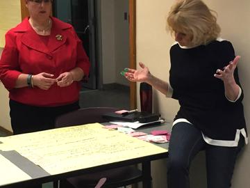 Board members contemplate blue & green dots