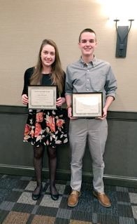 two JHS students pose with certificates