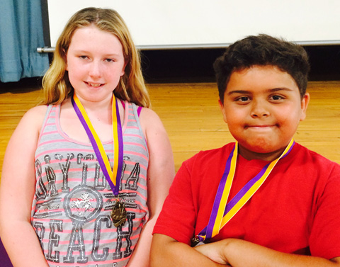 Julia Ellsworth and Raymond Pagan, third grade Artists of the Year