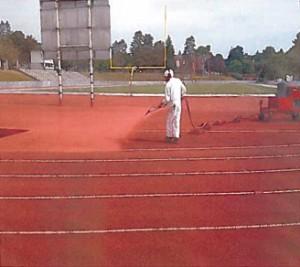 technician spraying Knox track