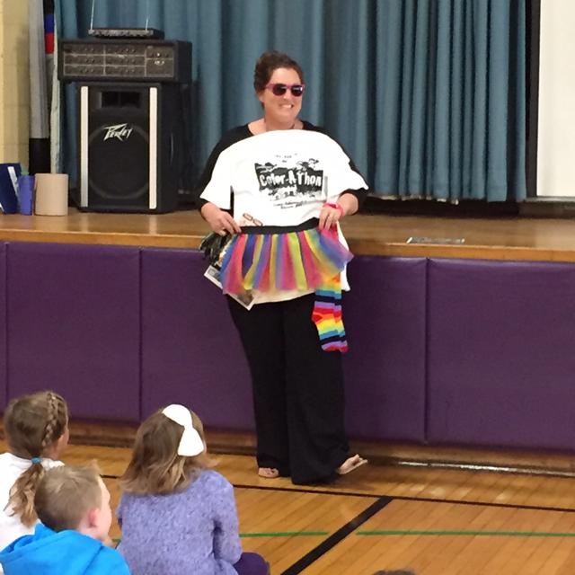 Mrs. North models rainbow apparel