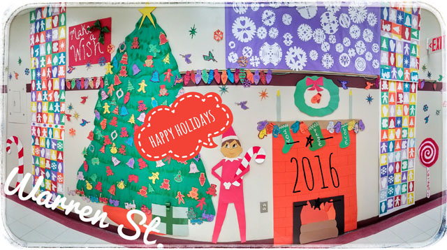 winter scene created on wall at Warren, fireplace, tree, snowflakes