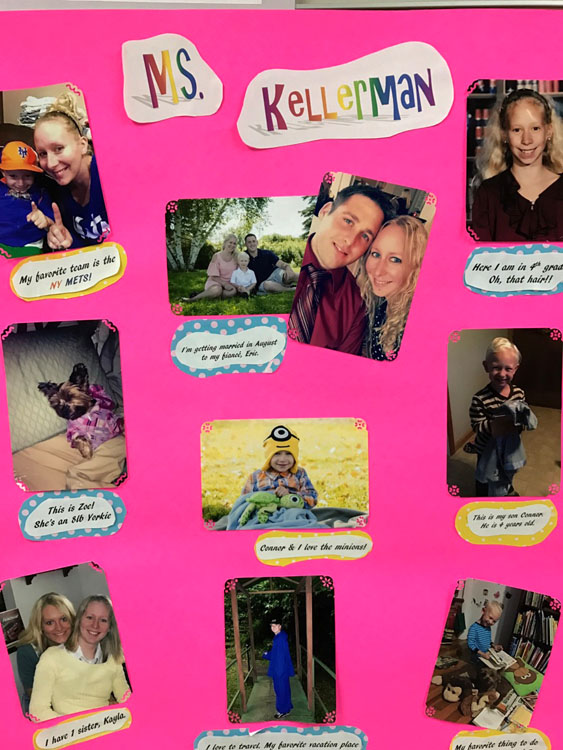 poster with pictures of Ms. Kellerman and quotes by her