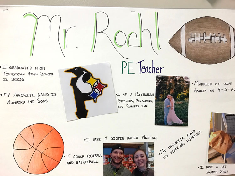 poster with pictures of Mr. Roehl and quotes by him