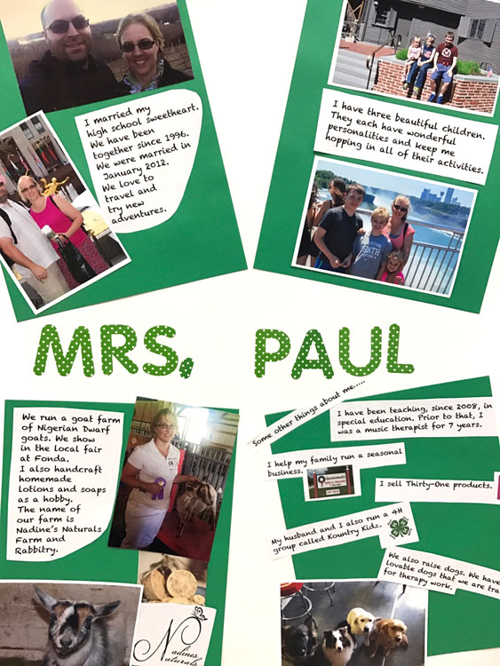 poster with pictures of Mrs. Paul and quotes by her