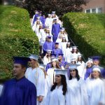 graduates descend outdoor staircase at Knox Field