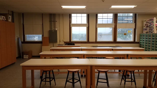 classroom tables ready for students