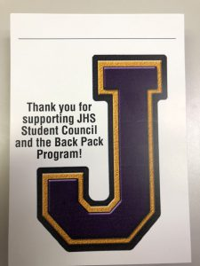 "poster of ""J"" with thank you for supporting student council and the Back Pack program"