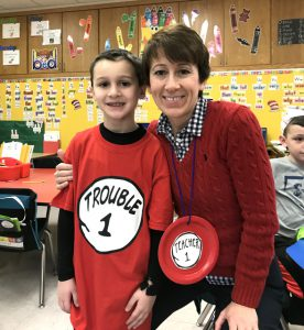 Mrs. Lisicki and a student dressed as Thing 1