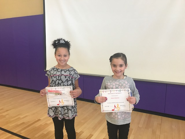 Girl & Boy Musicians of the Month with Certificates