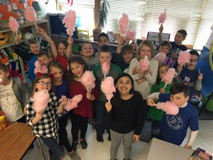 classroom of kids with cotton candy