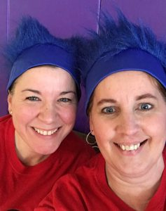 two teachers with blue thing 1 wigs