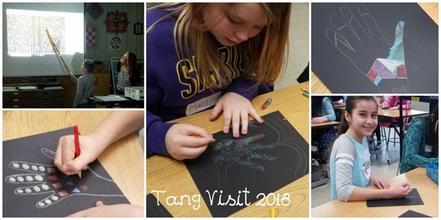 collage of students working on art projects