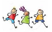 three stick figure cartoon type characters running