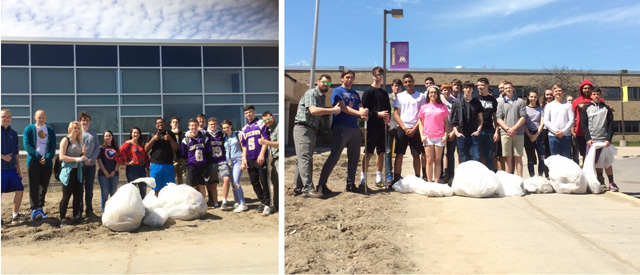 students pose outside JHS with filled trash bags