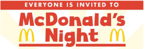 banner with words everyone is invited McDonald's Night