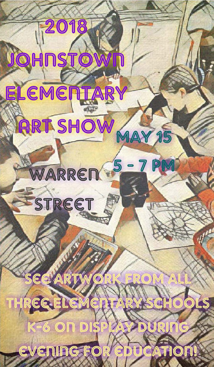 hand drawn poster announcing elementary art show on May 15 from 5 - 7 p.m.