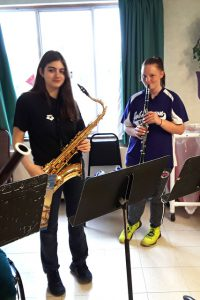 girls on saxophone and clarinet