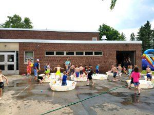 splashing in kiddie pools