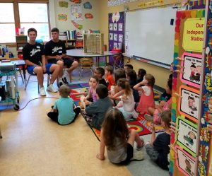 players reading to first group