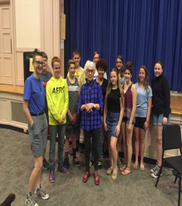 Ms. McKinley with students in Knox auditorium